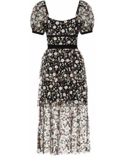 Черное платье миди сетчатое с сеткой Self-portrait