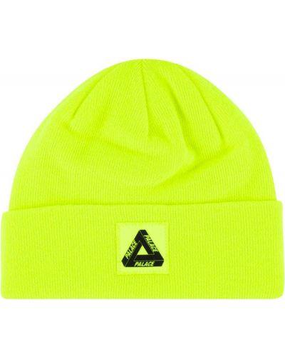 Желтая вязаная шапка бини с отворотом Palace