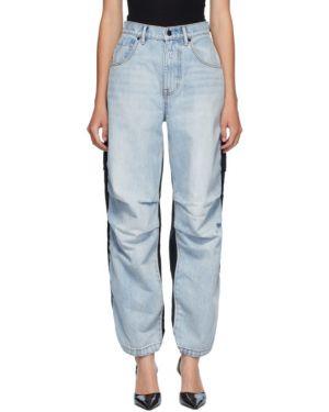 Черные прямые джинсы на резинке с манжетами с вышивкой Alexander Wang
