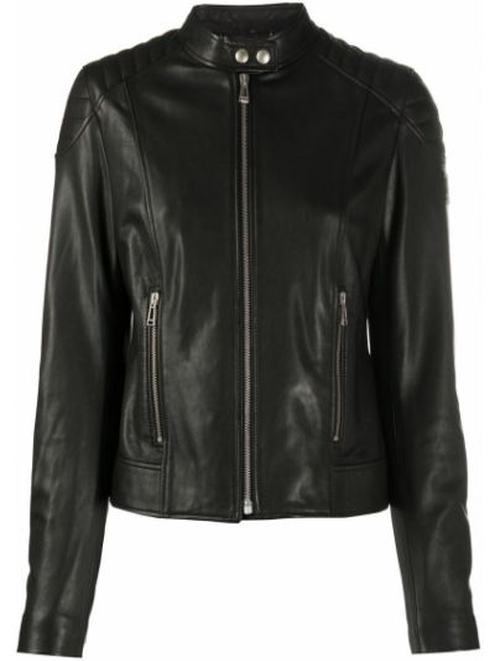Приталенная черная куртка байкерская на молнии Belstaff