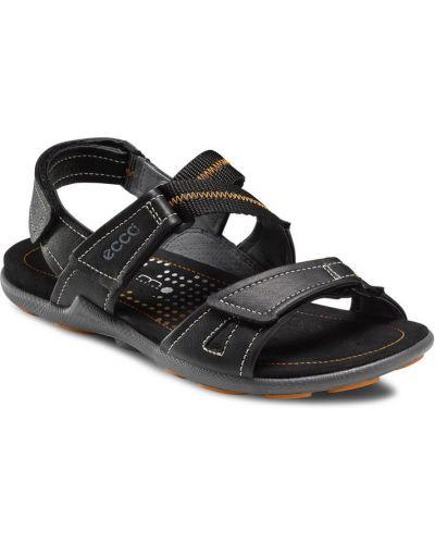 Спортивные сандалии кожаные черные Ecco