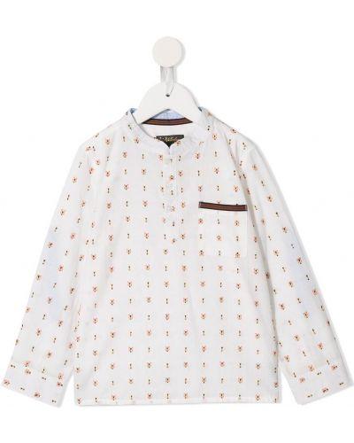 Koszula bawełniana z haftem z długimi rękawami Velveteen