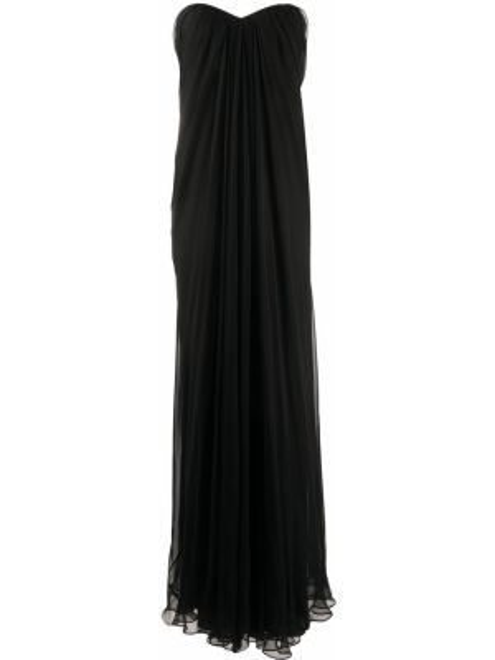 Шелковое черное платье макси без бретелек Alexander Mcqueen