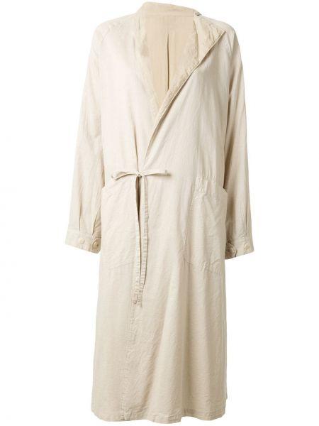 Коричневое длинное пальто с капюшоном с воротником Y's