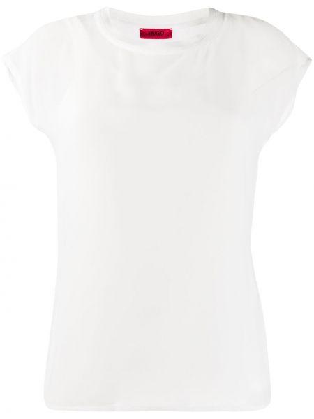 Белая прямая рубашка с коротким рукавом из вискозы круглая Boss Hugo Boss