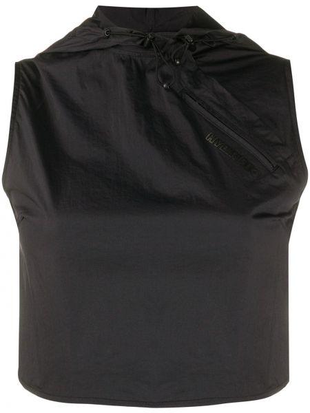 Черный нейлоновый топ без рукавов с круглым вырезом Hyein Seo