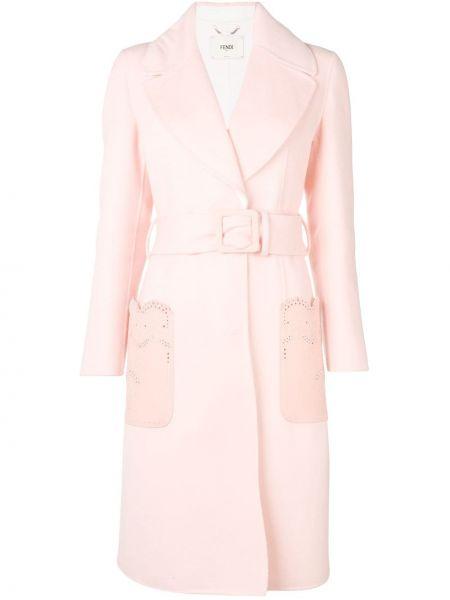 Розовое кожаное длинное пальто с воротником Fendi