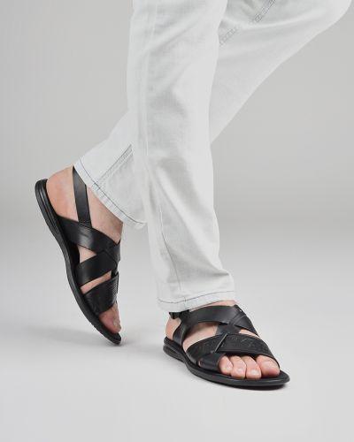 Черные кожаные сандалии Emporio Armani