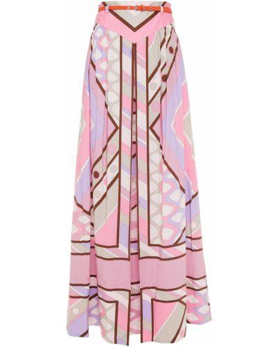 Хлопковая плиссированная юбка макси на крючках Emilio Pucci