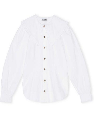 Biała bluzka z długimi rękawami oversize Ganni