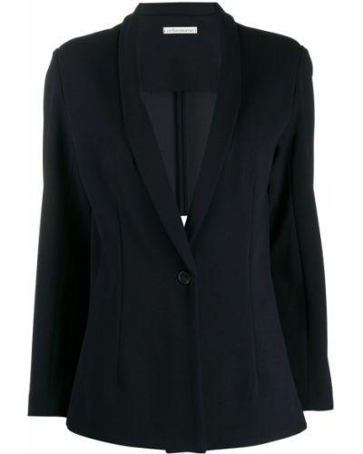 Однобортный синий удлиненный пиджак Stefano Mortari
