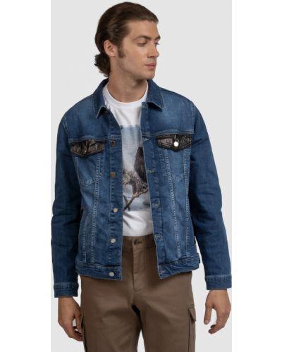 Свободная кожаная джинсовая куртка с карманами Kanzler