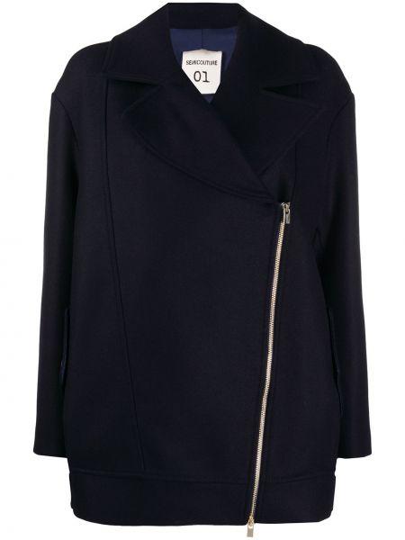 Шерстяная классическая черная длинная куртка с лацканами Semicouture