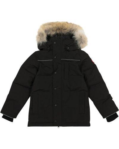 Ciepły czarny płaszcz bawełniany Canada Goose Kids