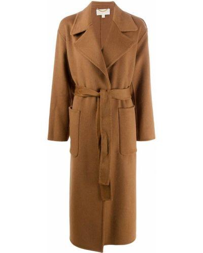Коричневое шерстяное длинное пальто свободного кроя Michael Michael Kors