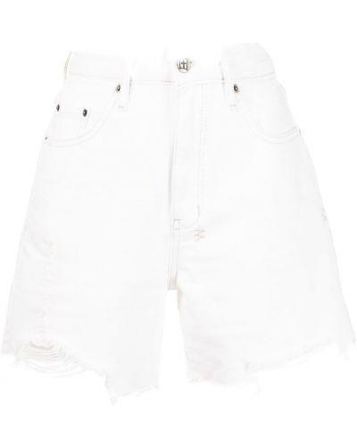 Хлопковые белые с завышенной талией джинсовые шорты Ksubi