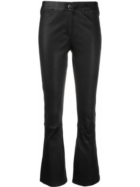 Кожаные черные укороченные брюки на пуговицах Arma