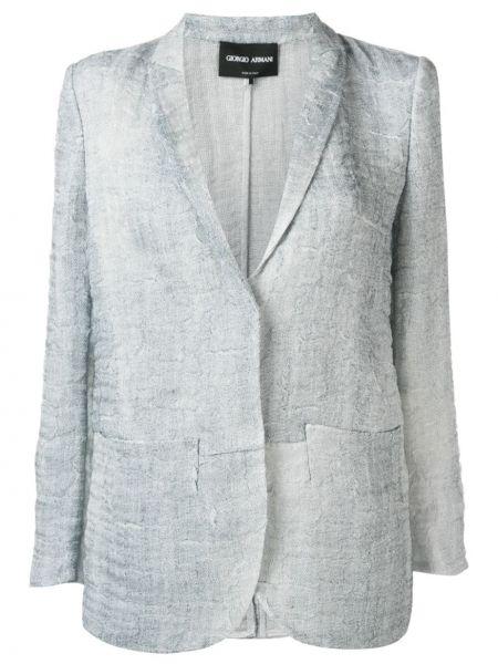 Шелковый синий пиджак со шлицей Giorgio Armani