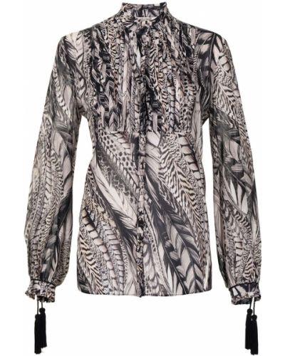 Шелковая блузка с воротником с длинными рукавами Roberto Cavalli