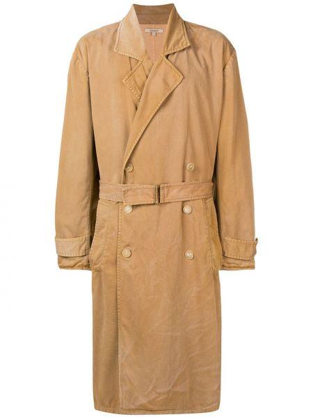 Żółty płaszcz z paskiem bawełniany Yeezy