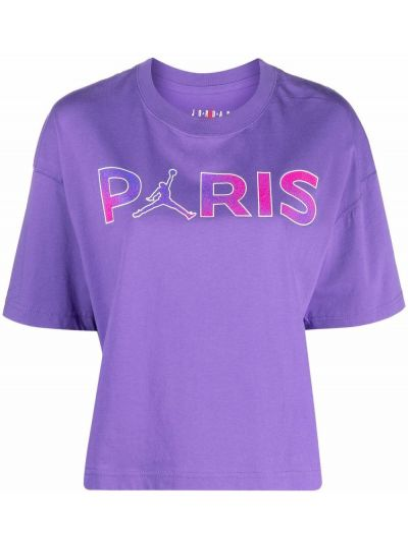 Фиолетовая прямая футболка с надписью с короткими рукавами Jordan