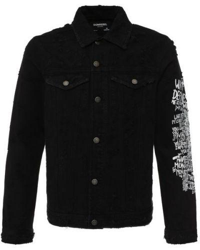 Джинсовая куртка черная на пуговицах Dom Rebel