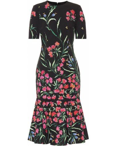 Bawełna bawełna czarny sukienka midi rozciągać Carolina Herrera