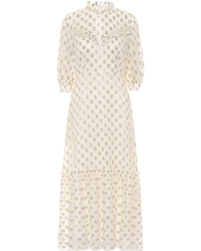 Золотистое шелковое белое платье макси Etro