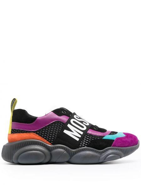 Skórzany czarny sneakersy okrągły na pięcie Moschino