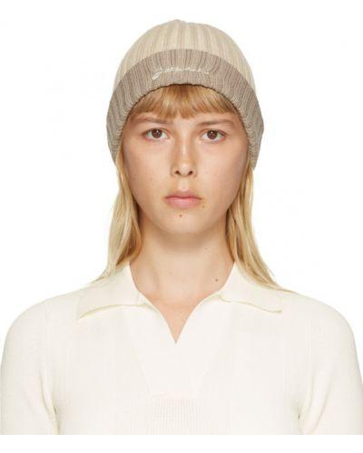 Хлопковая белая шапка бини с вышивкой Jacquemus
