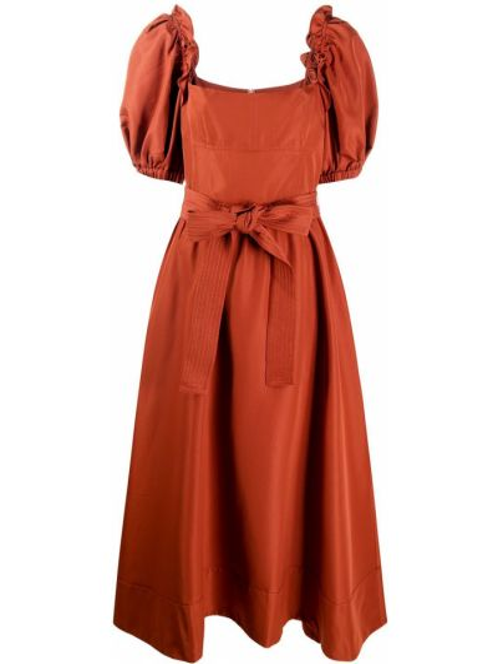 Расклешенное коричневое с рукавами платье миди Self-portrait