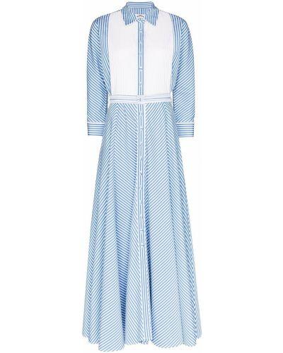 Синее приталенное платье на пуговицах с воротником Evi Grintela