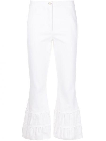 Białe jeansy z paskiem rozkloszowane Cinq A Sept