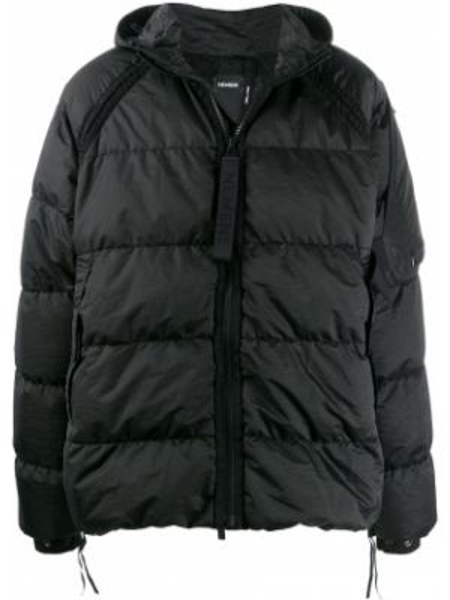 Нейлоновая черная стеганая куртка с манжетами на молнии Nemen