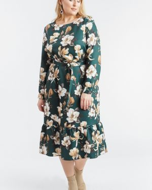 Платье с поясом на пуговицах зеленый Lacywear