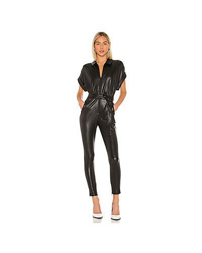 Кожаный черный комбинезон на молнии с карманами Nbd