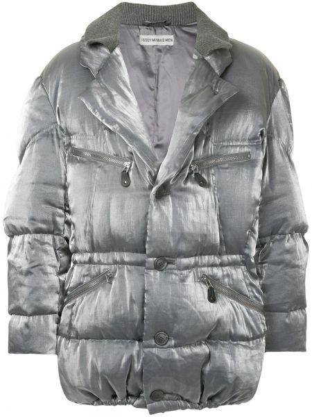 Серая хлопковая дутая куртка винтажная Issey Miyake Pre-owned