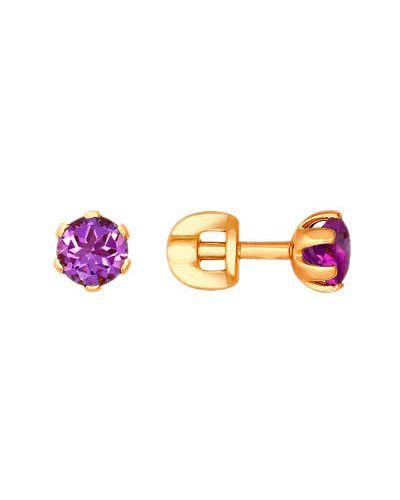 Золотые серьги с аметистом с камнями Sokolov