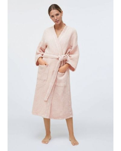 Хлопковый розовый домашний халат Oysho