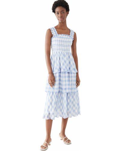 Шифоновое синее платье с декольте English Factory