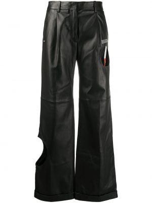 Кожаные черные брюки с воротником с карманами Off-white