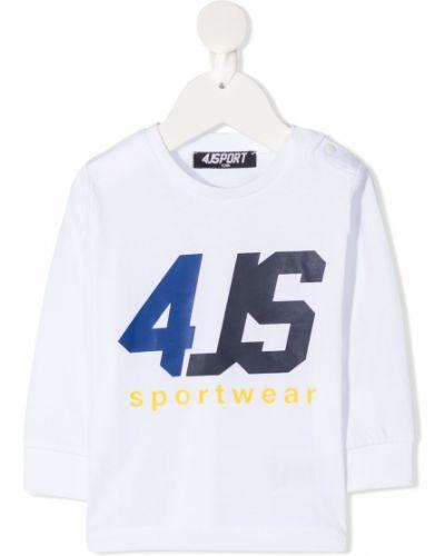 С рукавами хлопковая белая футболка с круглым вырезом Cesare Paciotti 4us Kids