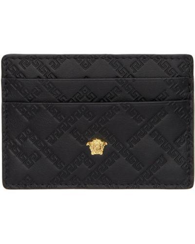 Кожаная черная ключница со шлицей с подкладкой Versace