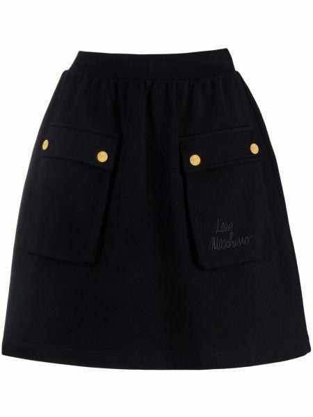 Spódnica z haftem - czarna Love Moschino