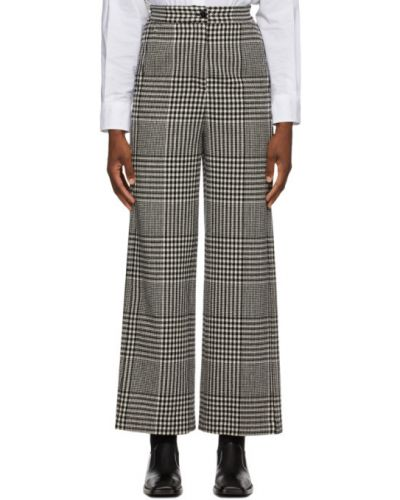 Wełniany czarny szerokie spodnie z kieszeniami bezpłatne cięcie Mm6 Maison Margiela