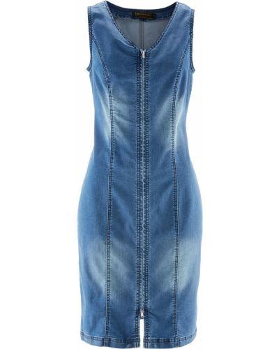 Джинсовое платье облегающее с V-образным вырезом Bonprix
