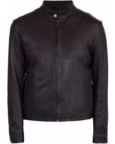 Кожаная куртка приталенная на молнии Moreschi
