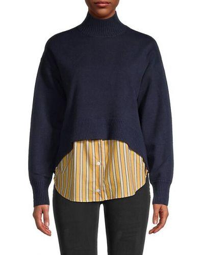 Prążkowany długi sweter z akrylu z długimi rękawami Central Park West