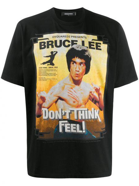 Koszula krótkie z krótkim rękawem z nadrukiem czarna Dsquared2