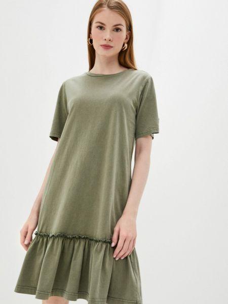 Китайское купальник-платье платье осеннее хаки Sela